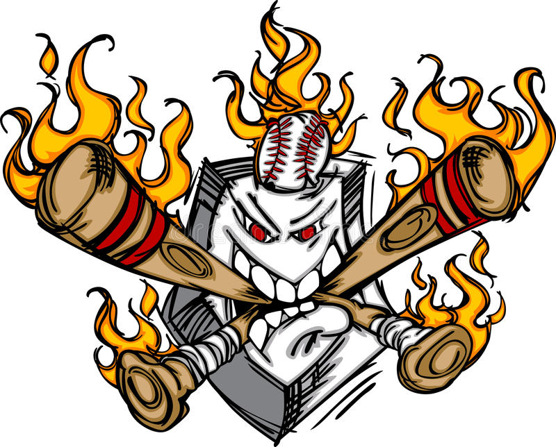 O basebol flamejante Plat bastões cortantes da face ilustração stock