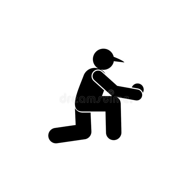 O basebol senta para baixo o ?cone do glyph da bola Elemento do ?cone da ilustra??o do esporte do basebol Os sinais e os s?mbolos ilustração stock