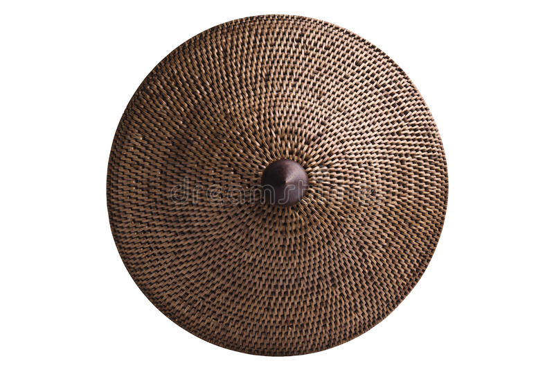 Basketry (Wickerwork) do rattan, isolado com trajetos de grampeamento. imagens de stock royalty free