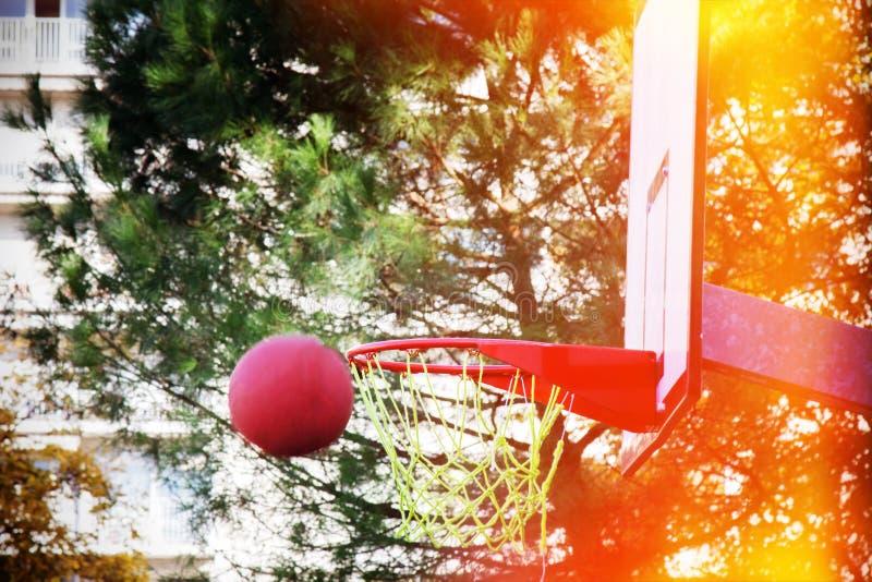 O basquete voa na borda ou nos falhos fotos de stock