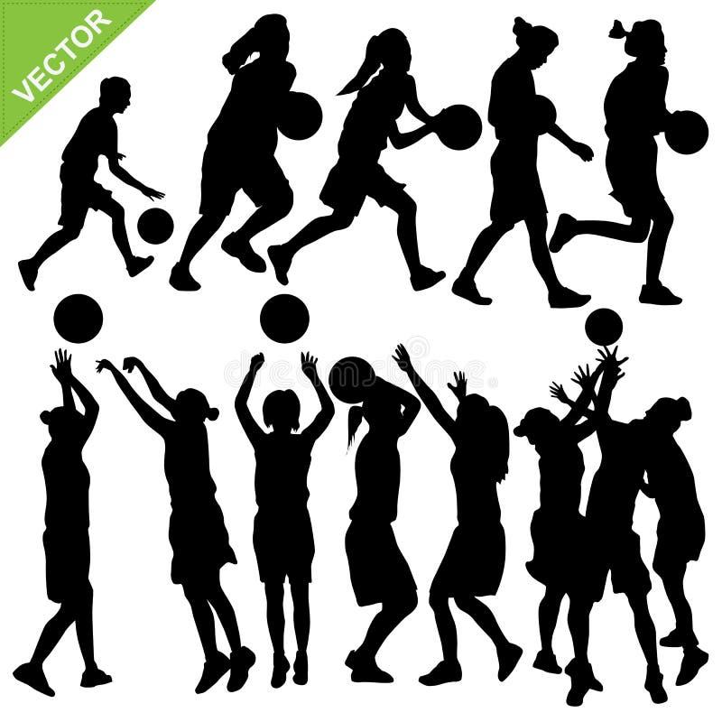 O basquetebol do jogo das mulheres mostra em silhueta o vetor ilustração stock