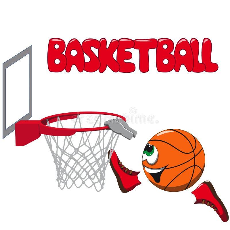O basquetebol voa no anel ilustração do vetor