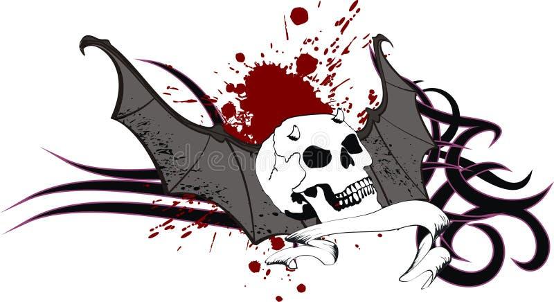 O bastão do crânio voa a crista da tatuagem da etiqueta ilustração royalty free