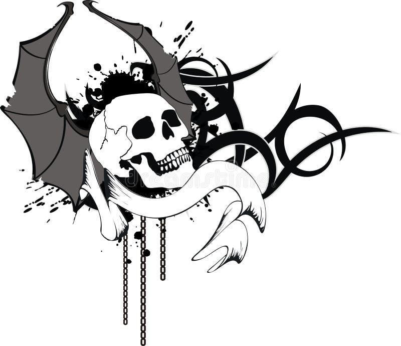 O bastão do crânio voa a crista 4 da tatuagem da etiqueta ilustração royalty free