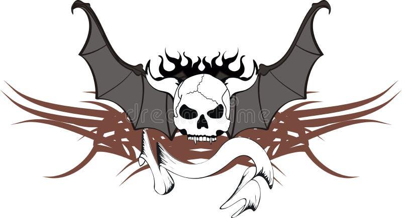 O bastão do crânio voa a crista 5 da tatuagem da etiqueta ilustração stock