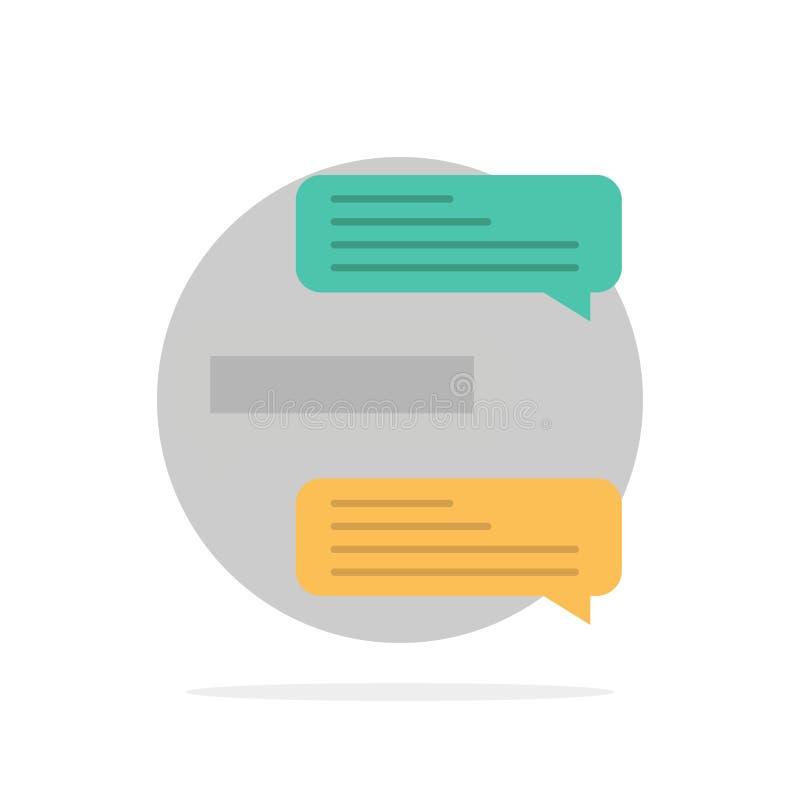 O bate-papo, bolhas, comentários, conversações, negociações abstrai o ícone liso da cor do fundo do círculo ilustração royalty free