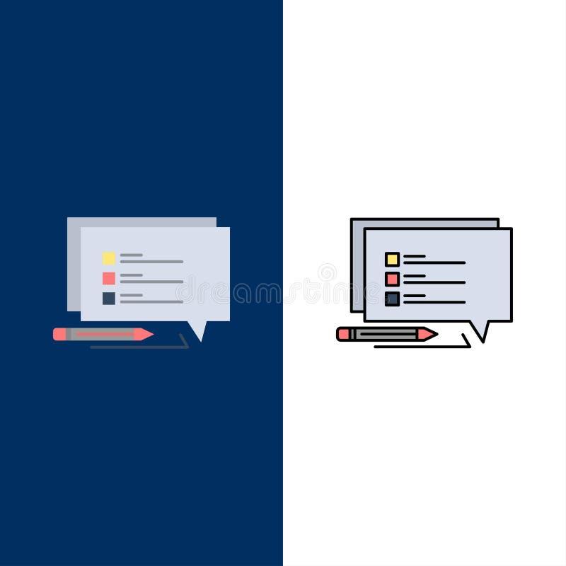 O bate-papo, Sms, mensagem, escreve ícones O plano e a linha ícone enchido ajustaram o fundo azul do vetor ilustração stock