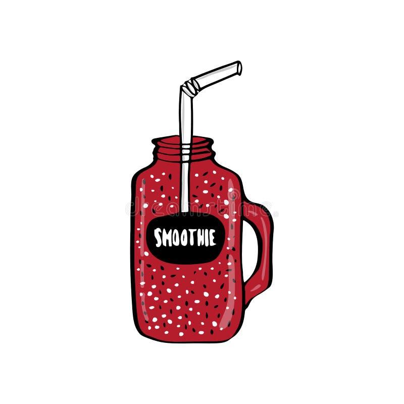 O batido mantém a dieta saudável Agitação fresca orgânica do suco como a bebida do cocktail ilustração stock