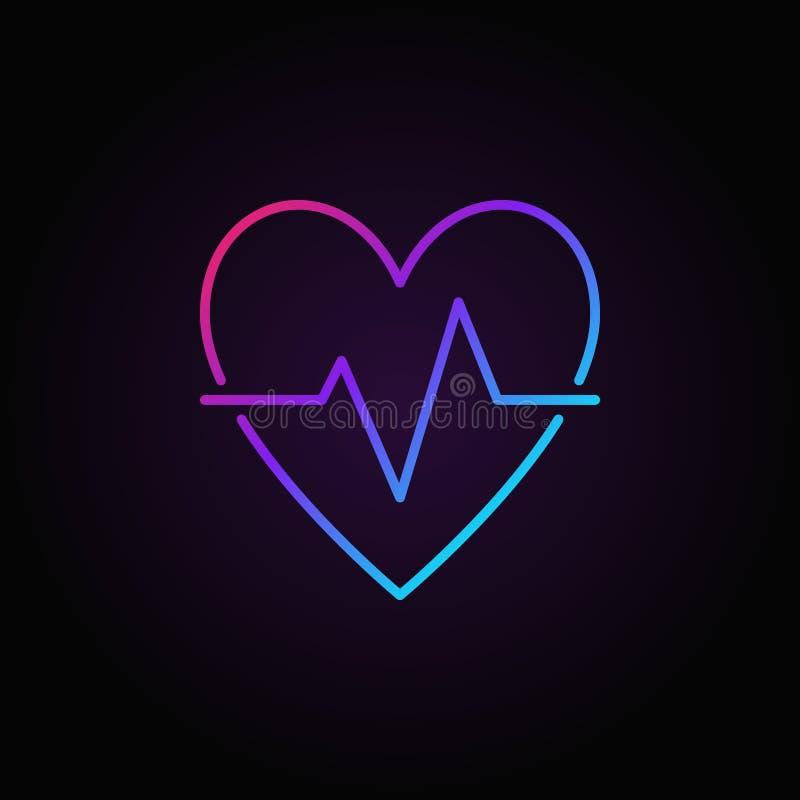 O batimento cardíaco coloriu o ícone - vector a linha sinal do pulso da pulsação do coração ilustração stock