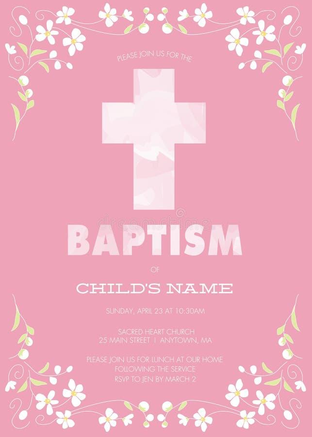 O batismo da menina cor-de-rosa/batismo/primeiramente o comunhão/convite da confirmação com cruz da aquarela e design floral - ve ilustração royalty free