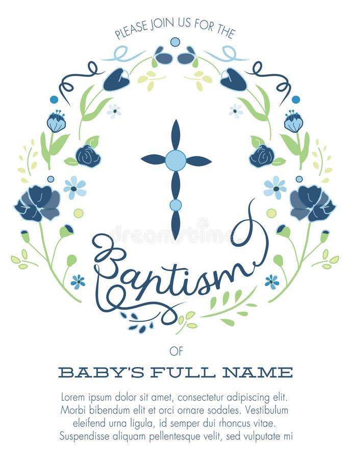 O batismo do menino azul e verde/convite do batismo com projeto transversal e flores - definição ou vetor da altura ilustração stock