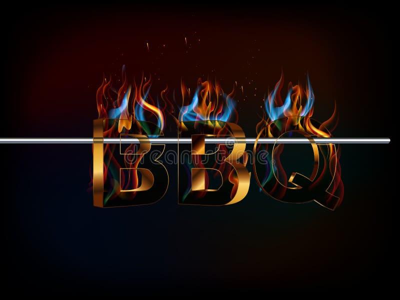 O BBQ assa o menu, texto 3d com fogo, sabores da grade ilustração do vetor