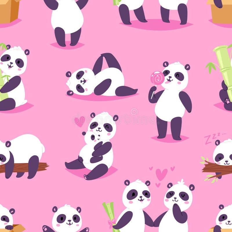 O bearcat ou os chineses do vetor da panda carregam com bambu no amor que joga ou grupo da ilustração do sono de leitura da panda ilustração stock