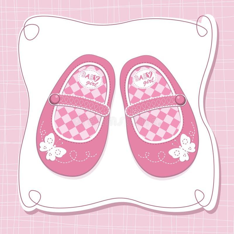 O bebé calç o cartão de chegada ilustração stock