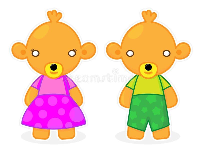 O bebê bonito e positivo carrega o vetor do menino e da menina fotos de stock