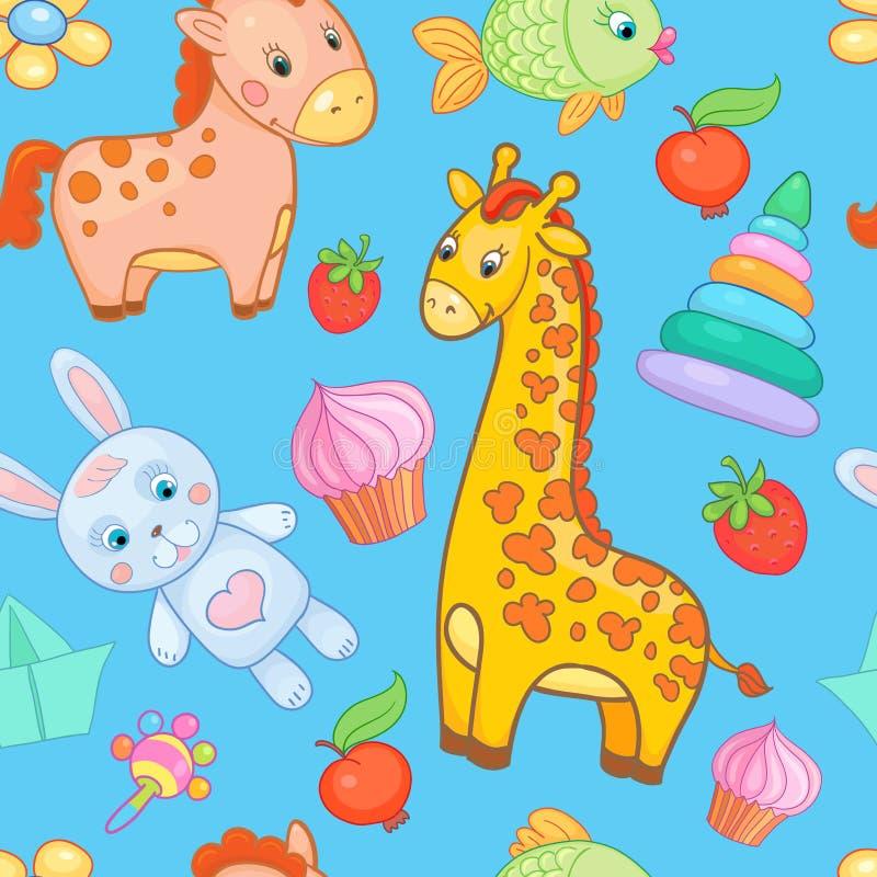 O bebê brinca o fundo sem emenda do animal do vetor do teste padrão ilustração stock