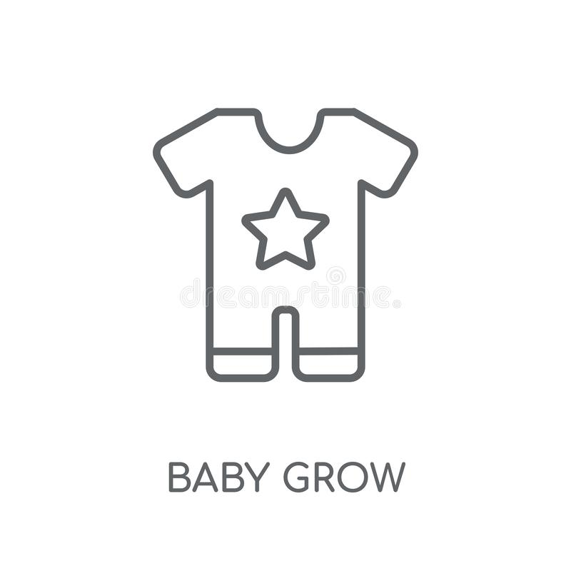 O bebê cresce o ícone linear O bebê moderno do esboço cresce o conceito do logotipo sobre ilustração do vetor