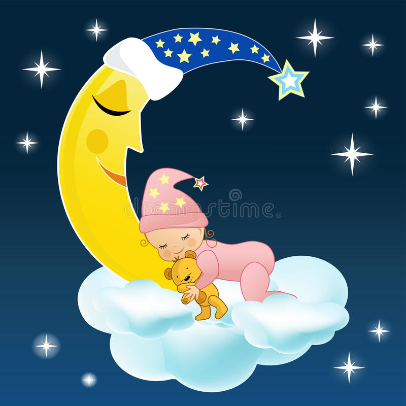O bebê dorme em uma nuvem. ilustração do vetor