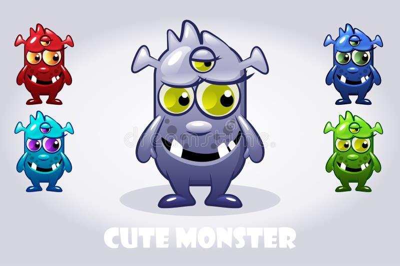 O bebê dos desenhos animados do vetor três-eyed o monstro em cores diferentes, jogo de caracteres engraçado ilustração royalty free