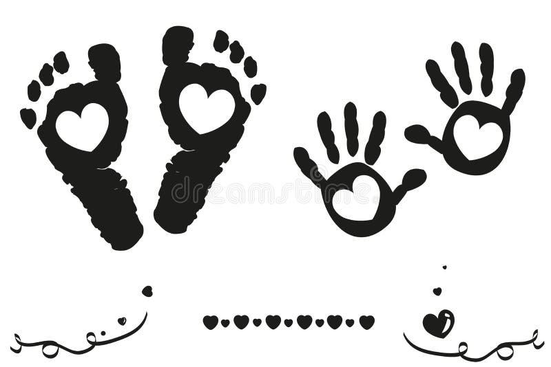 O bebê e os pés e a mão gêmeos do menino imprimem o fundo preto e branco do cartão de chegada ilustração stock