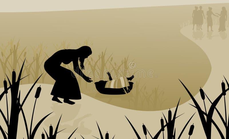 O bebê Moses salvar no rio ilustração stock