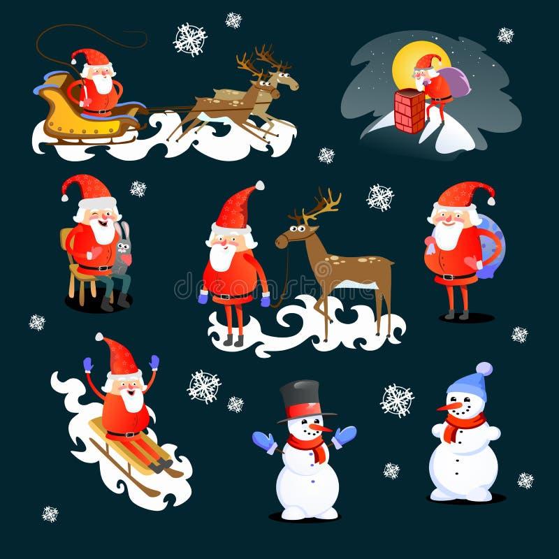 O bebê nas mãos de Santa Claus faz o desejo, o homem no terno vermelho e a barba com o saco dos presentes atrás dele escaladas na ilustração stock