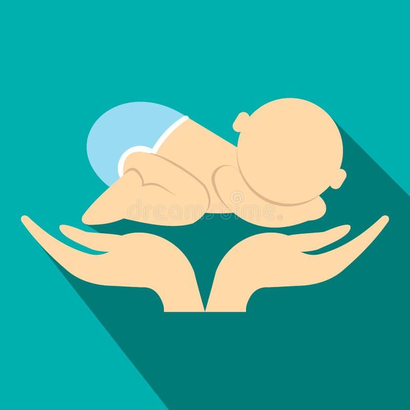 O bebê pequeno na mãe entrega o ícone liso ilustração do vetor
