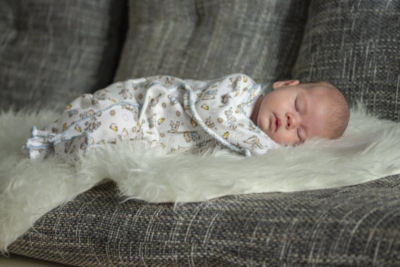 O beb? rec?m-nascido dorme em uma cobertura da pele A crian?a de sono do beb? cresce acima em um sonho Foco macio do retrato imagem de stock