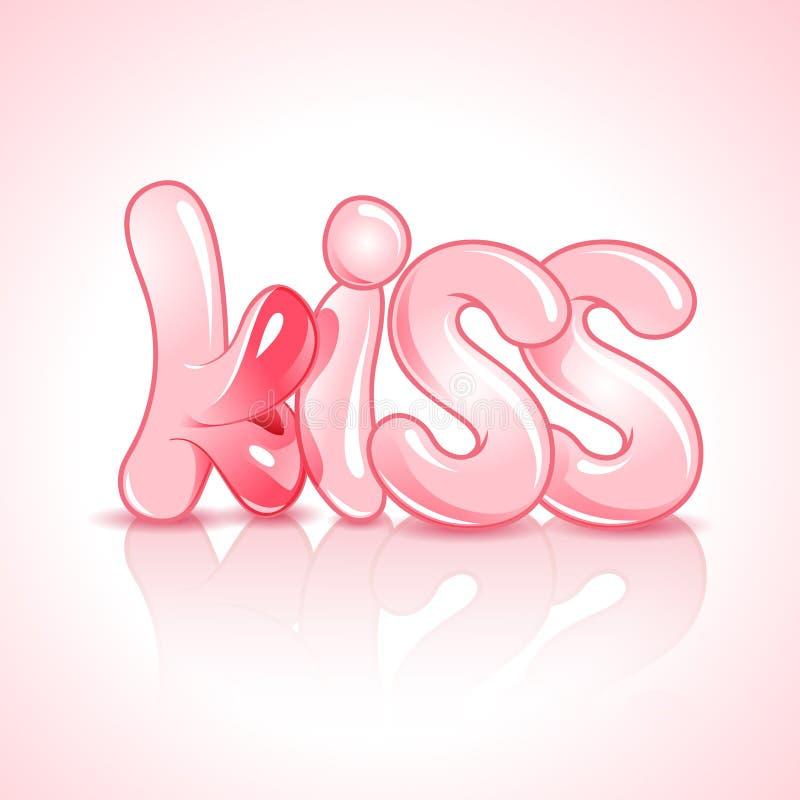 O beijo da palavra com bordos luxúrias ilustração do vetor