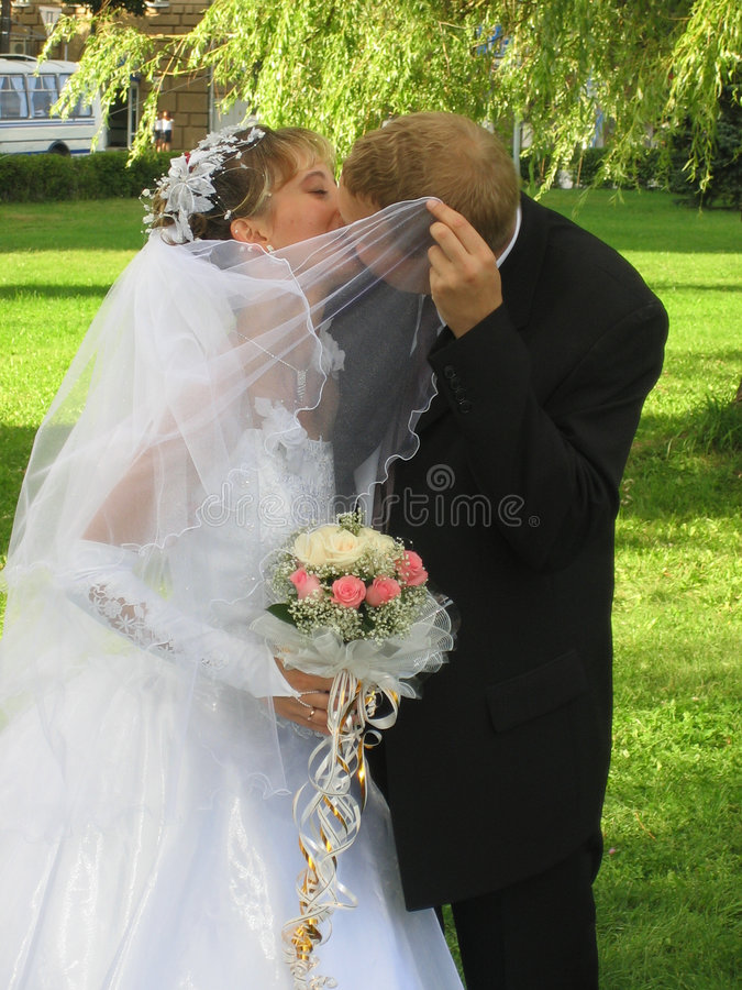 O beijo do casamento imagens de stock