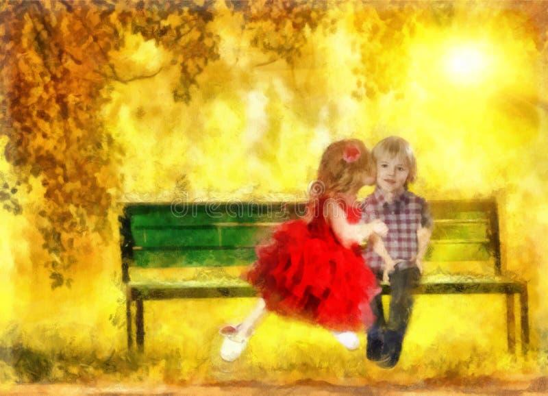 O beijo o mais doce ilustração stock