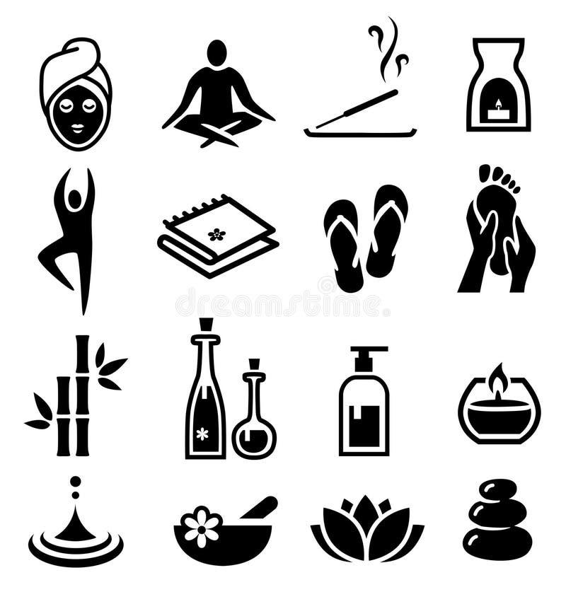 O bem-estar e relaxa ícones ilustração royalty free