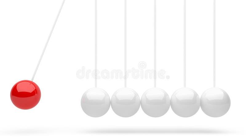O berço de Newton com a uma bola vermelha ilustração stock