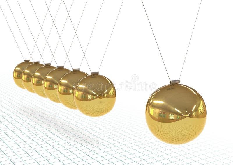 O berço de Newton - metálico, pêndulo 3D dourado em cru com papel de gráfico ilustração stock