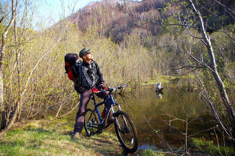 O Bicyclist. fotos de stock royalty free
