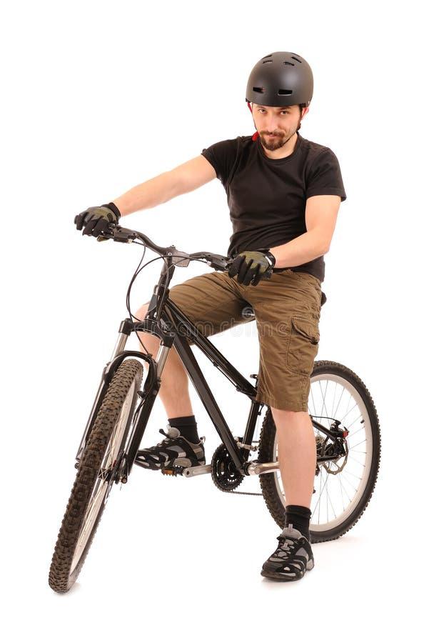 O bicyclist no branco. foto de stock royalty free
