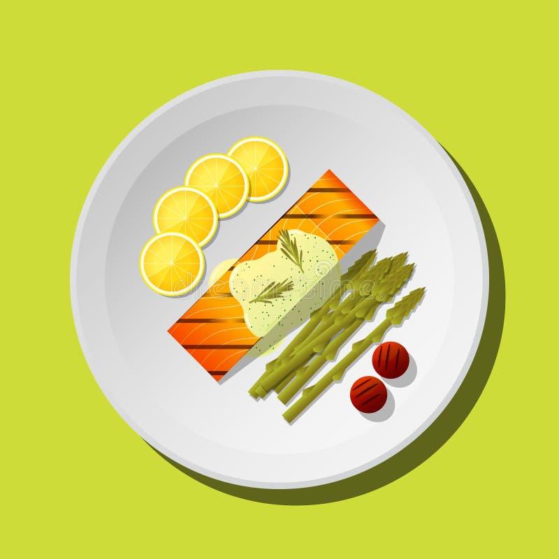 O bife salmon grelhado com vegetais e especiarias serviu na placa ilustração stock