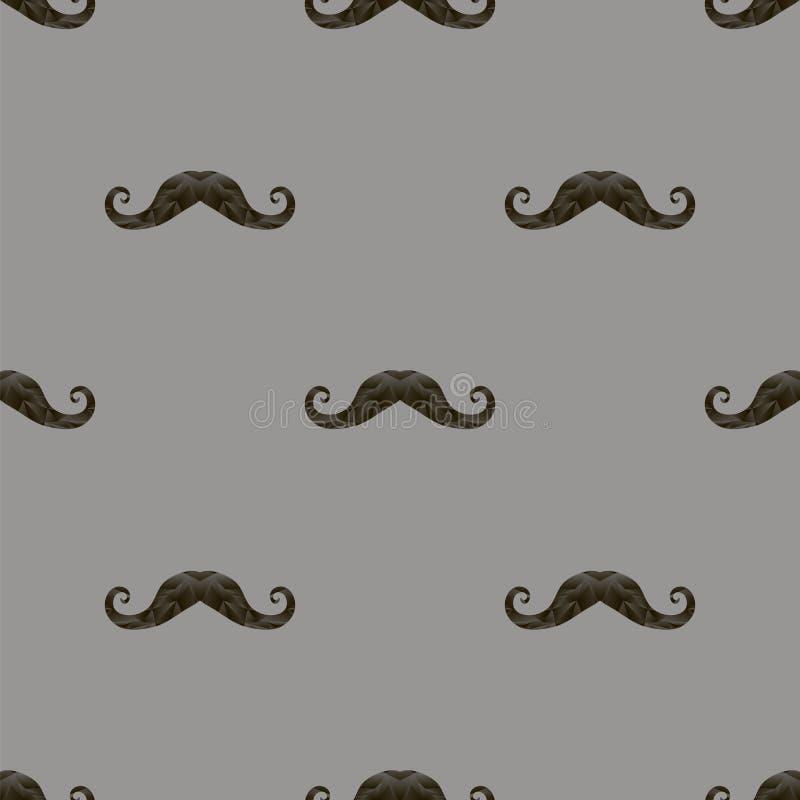 O bigode peludo preto mostra em silhueta o teste padrão sem emenda ilustração stock