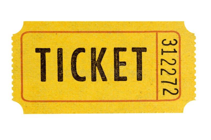 O bilhete alaranjado da entrada da admissão uma isolou branco fotos de stock