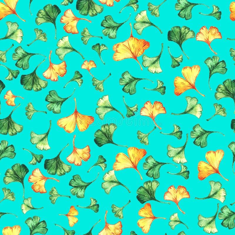 O biloba da nogueira-do-Japão deixa a aquarela floral o teste padrão sem emenda no backround de turquesa Planta da árvore conheci ilustração royalty free