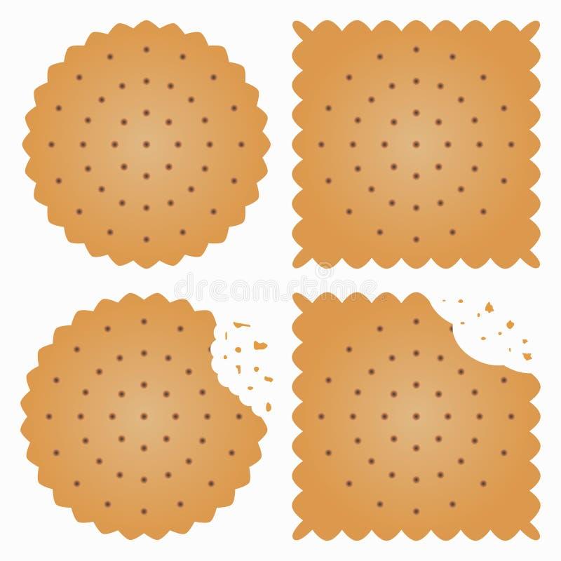 O biscoito, biscoito com mordida marca e desintegra-se Vetor ilustração do vetor