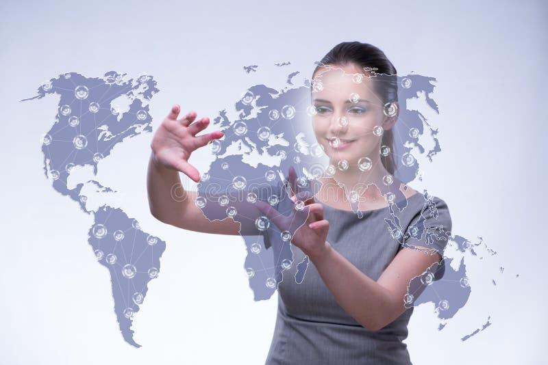 O bisinesswoman novo no conceito do negócio global fotos de stock royalty free