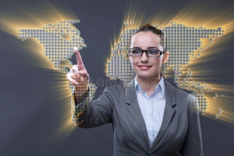 O bisinesswoman novo no conceito do negócio global foto de stock