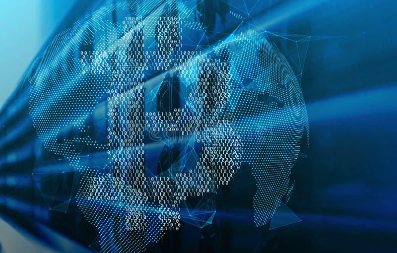 O bitcoin binário sobre a projeção digital da terra e o fundo da obscuridade da tecnologia fazem sinal a 3d para render ilustração royalty free