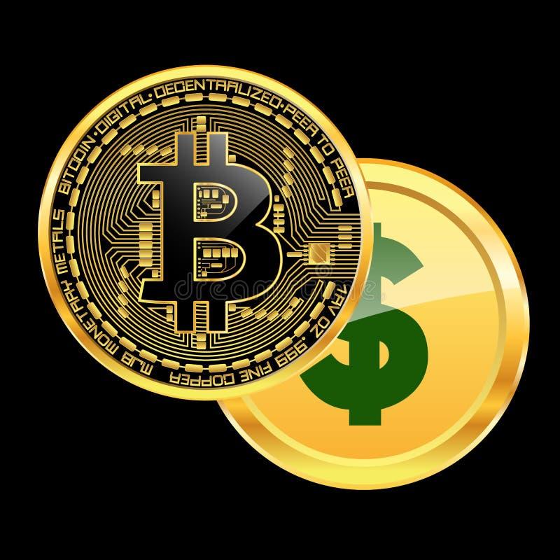 O bitcoin cripto da moeda bate o conceito do dólar ilustração royalty free