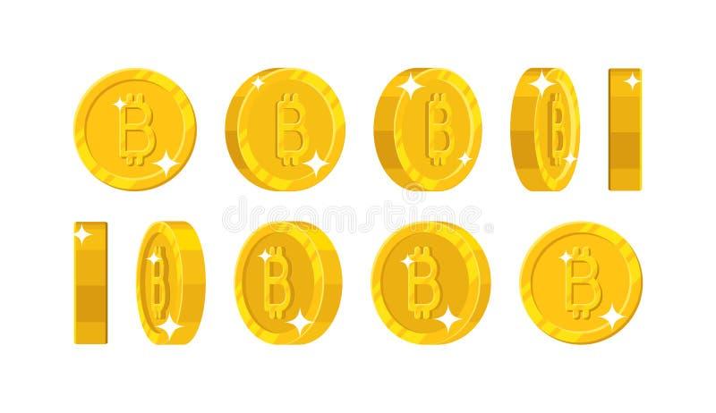 O bitcoin do ouro vê o estilo dos desenhos animados isolado ilustração stock
