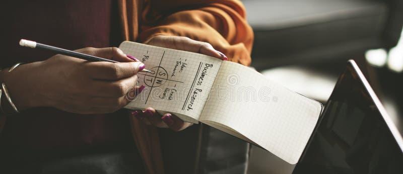 O bloco de notas da escrita da mulher nota o conceito do negócio do SWOT imagens de stock royalty free