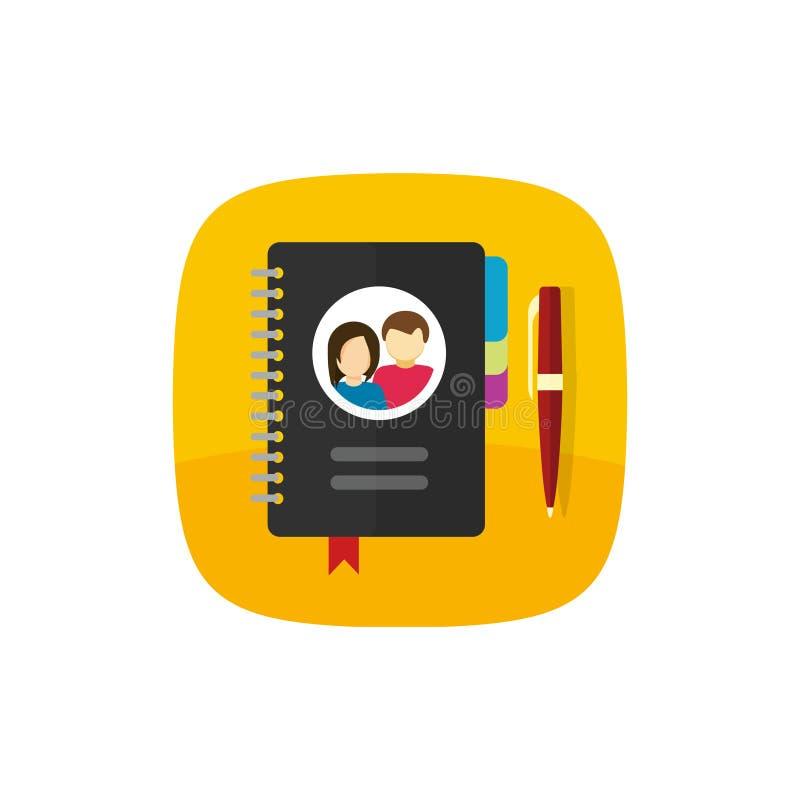 O bloco de notas para contatos vector o ícone ou abotoa a ilustração caderno isolado, liso do papel do estilo dos desenhos animad ilustração stock