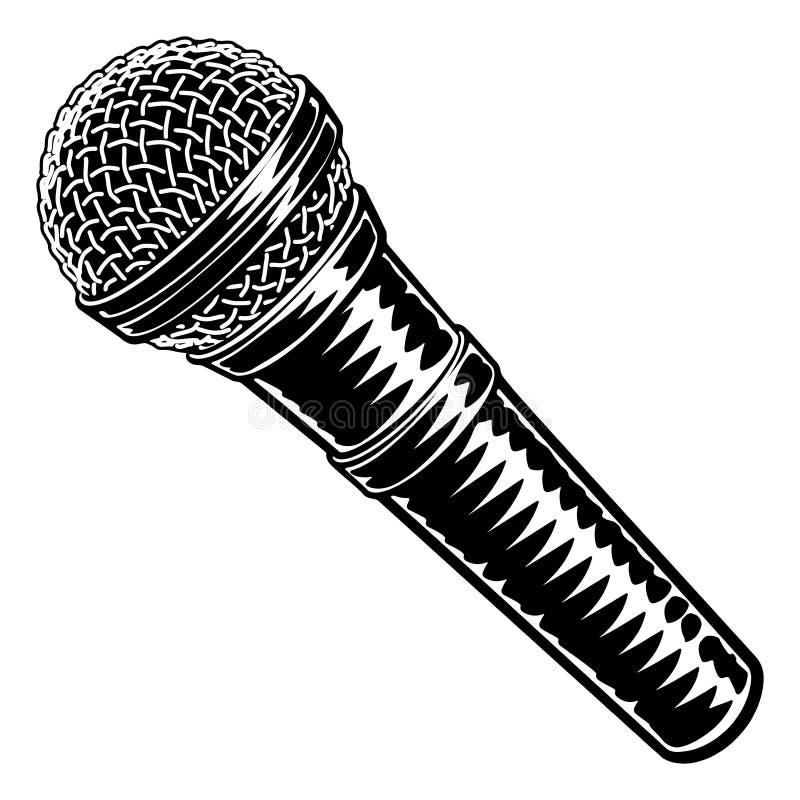 O bloco xilogr?fico do vintage do microfone gravou o estilo ilustração do vetor