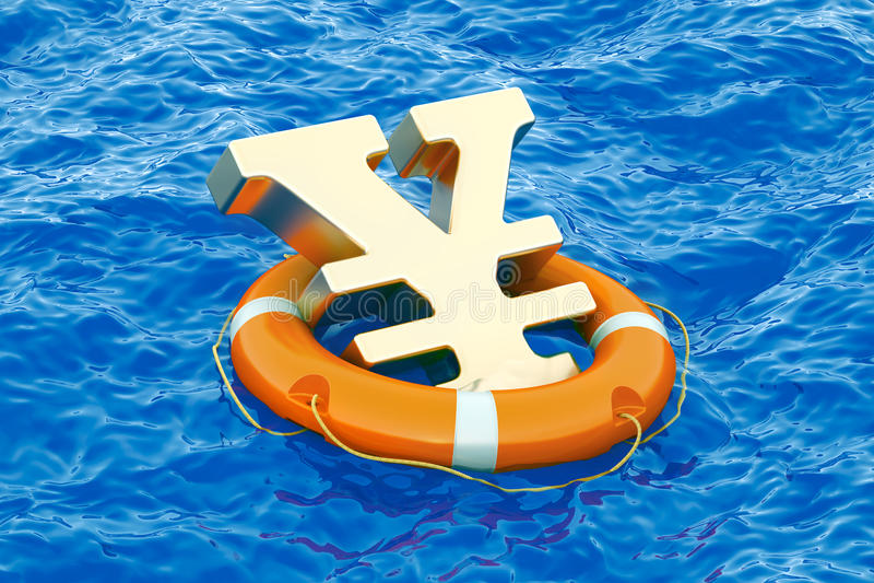 O boia salva-vidas com símbolo dourado no mar aberto, 3D dos ienes ou do yuan arranca ilustração do vetor